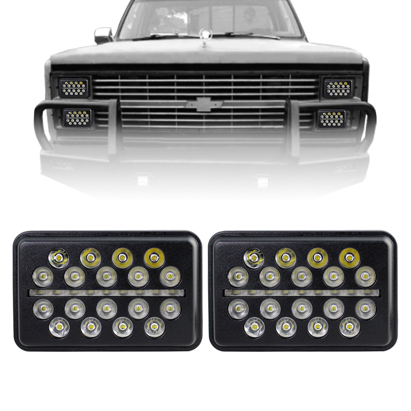 2PCS Ultra-Thin 93W 4X6 inch LED Headlight With DRL Hi/Low Rectangular Replacement for Peerbil Kenworth Freightinger Ford Probe