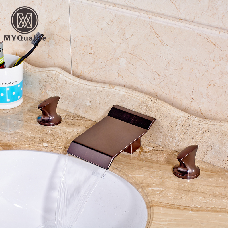 Good Quality Dual Handles Waterfall Basin Faucet Deck Mount Widespread Bath Mixer Taps Oil Rubbed Bronze best quality oil rubbed bronze black bath