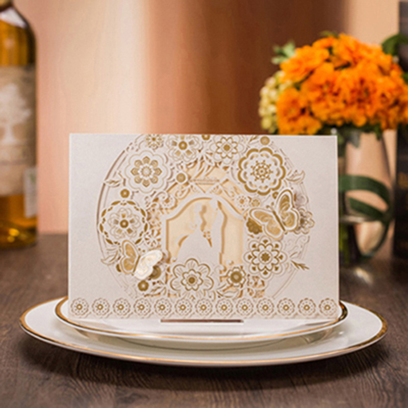 Us 0 43 38 Off 1pcs White Gold Laser Cut Groom And Bride Wedding Invitation Cards Customize Printable Elegant Decoration Party Supplies In