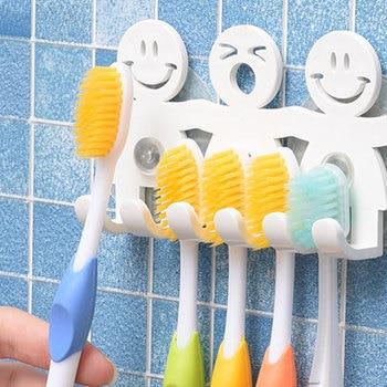 5 Position Tooth Brush Holder Suction Hooks Bathroom Sets Cute Smile Cartoon Sucker Toothbrush Holder Sanitary Ware Suite