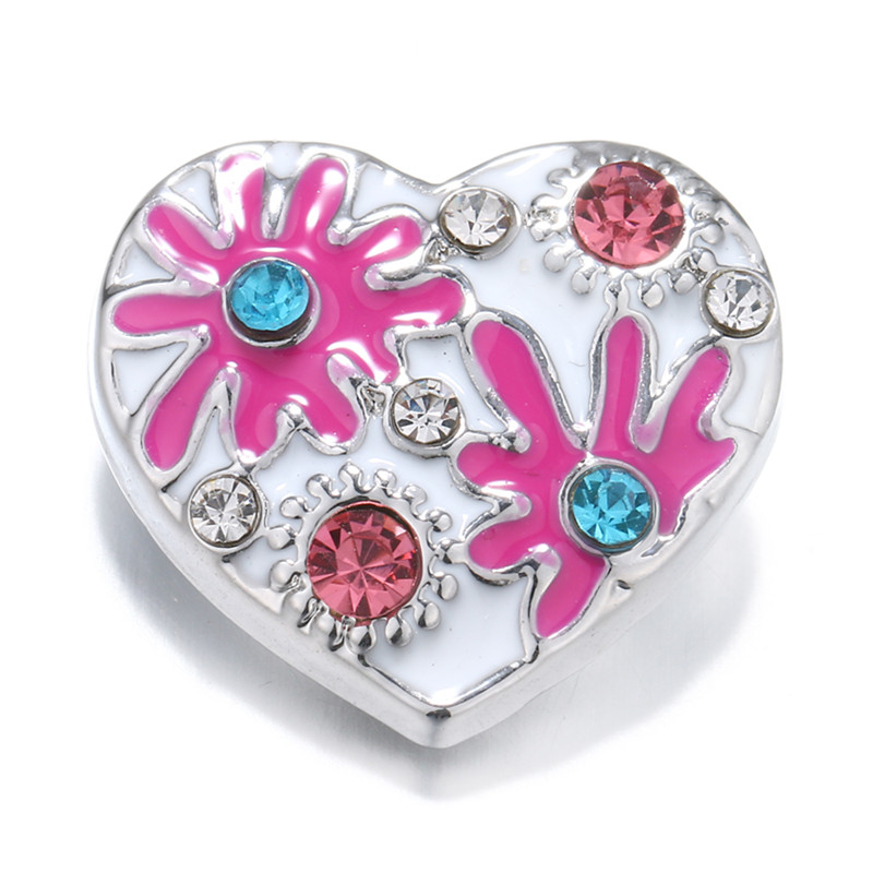 New KZ2012 Beauty 18MM White Colorful flowers Metal snap buttons for DIY snap pendants jewelry charm wholesale Gift