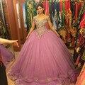 Lindo Rosa Vestidos Quinceanera 2016 vestido de Baile Frisado Ruffled Organza Doce 16 Vestido de Festa Vestido Vestidos 15 anos