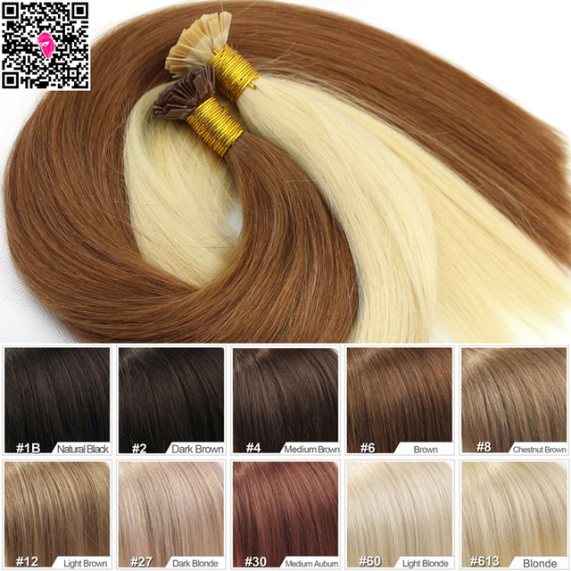7a Virgin Remy Hair Extensions Straight Flat Tip Keratin Fusion