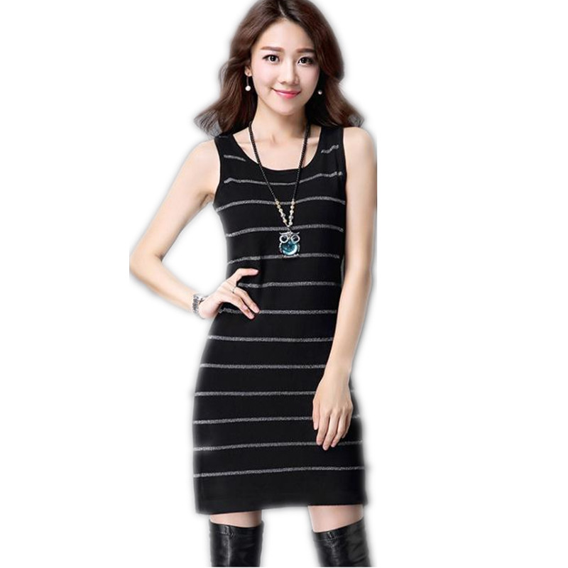 2018 New Fashion Summer Spring Women Striped Skinny Knitted Knee-Length Dress Female O-Neck Spaghetti Strap  Knitted DressCQ1273 женское платье summer dress 2015cute o women dress