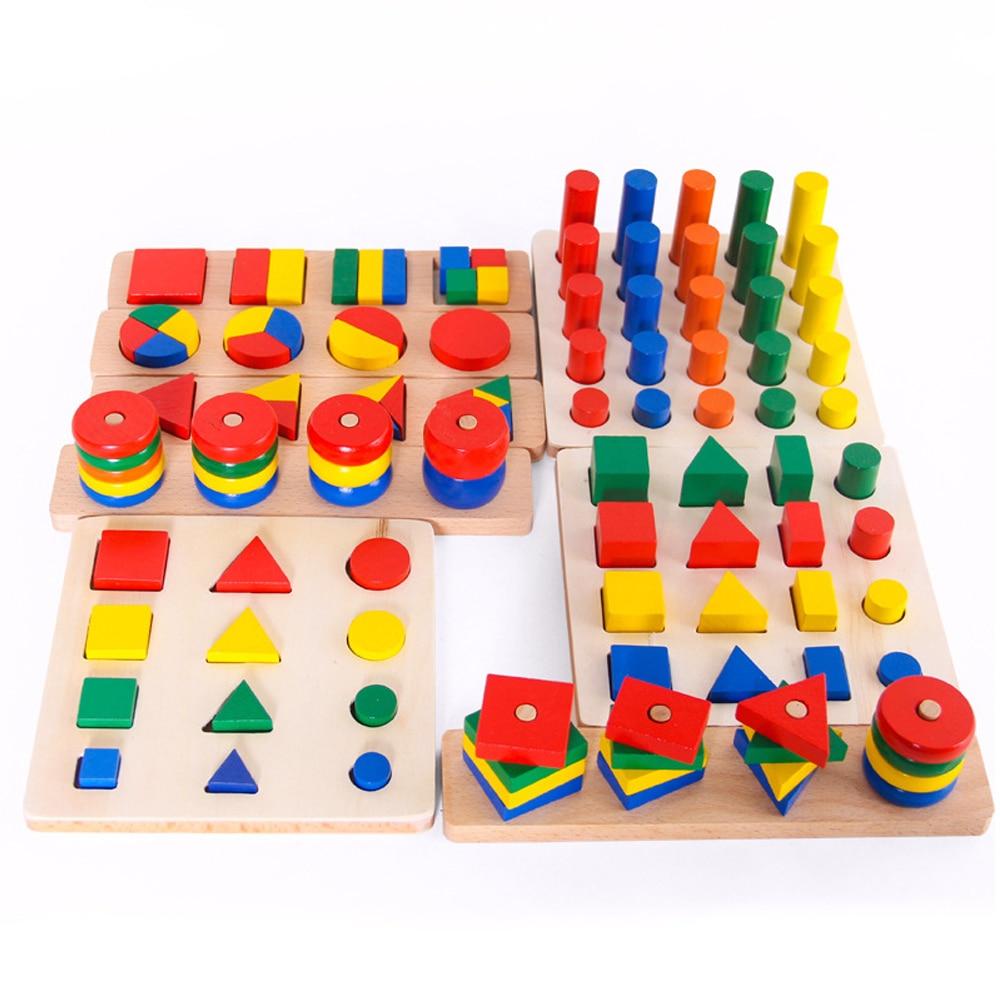 8 dans 1 Montessori Bébé Jouets En Bois Géométrie Forme Mathématiques Jouets Enseignement Sida Comptage et Empilement Board Calculer Jeu