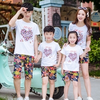 2017 Summer Family Outfits Clothing Mother Daughter Father Son Sets Cotton White Short Sleeve T Shirt