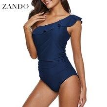 Zando Navy Sexy One Piece Swimsuit Women Swimwear Shoulder Ruffle Mesh Bodysuits Beach Swim Suit Bathing