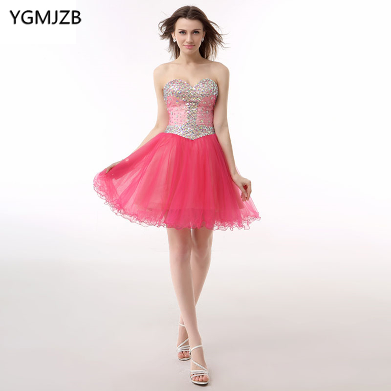 Little   Dress   Pink   Cocktail     Dresses   2018 A Line Sweetheart Glitter Beaded Crystal Organza Party   Dress   Backless Homecoming   Dress
