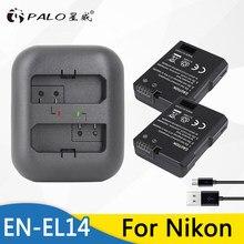 Palo 2 шт. EN-EL14 EN EL14 ENEL14 литий-ионная батарея для камеры + USB двойное зарядное устройство для Nikon D90 D300 D5300 D3300 для COOLPIX P7100 P7200