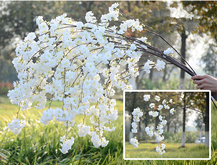 10p Artificial Cherry Blossom Branch Flower Wall Hanging Sakura 150cm for Wedding Centerpieces Artificial Decorative Flowers