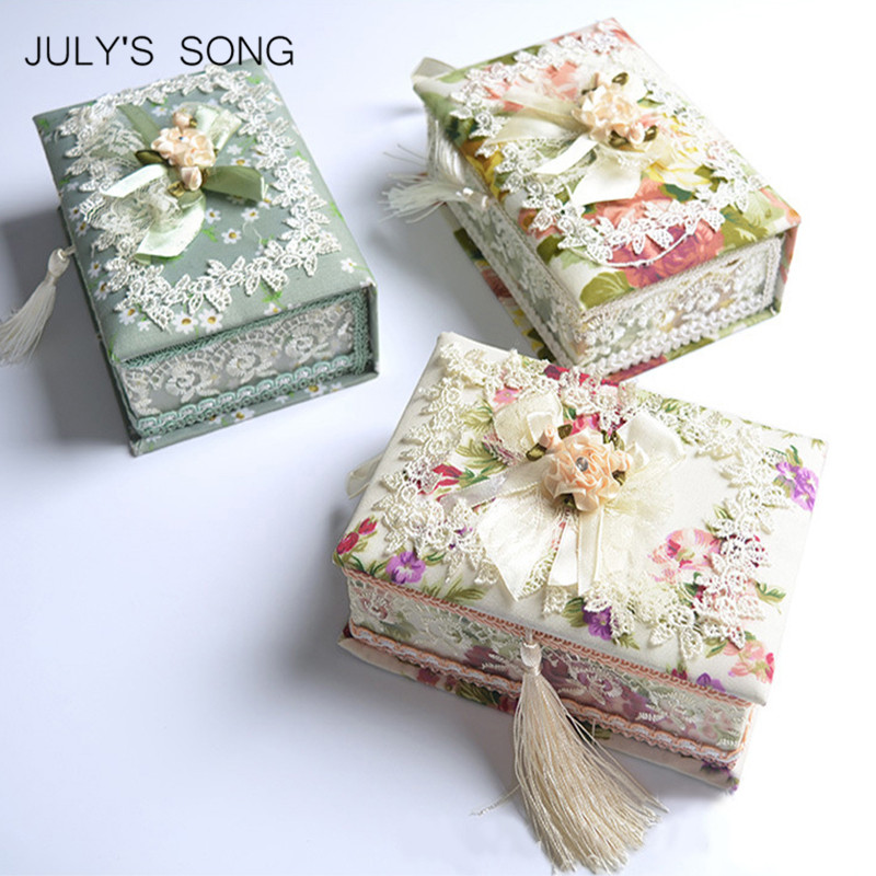 JULYS SONG Pastoral Jewelry Organizer Earring Casket Storage Box Container Casket For Jewelry Trinket Storage Case Gift Box