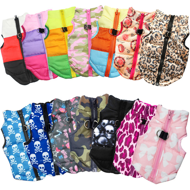 Warm Waterproof Printed Colorful Vest for Small Dogs