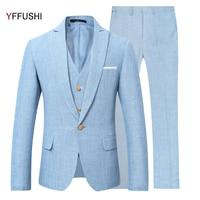 YFFUSHI New Men Suit Party Dress Blue Wedding Suits for Men Tuxedo Latest Coat Pant Designs Slim Fit Linen Casual Style