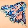 Primavera verano mecerized algodón color manchados de tinta floral prints bufanda femenina protector solar chal toalla de playa de la bufanda de lujo de la marca