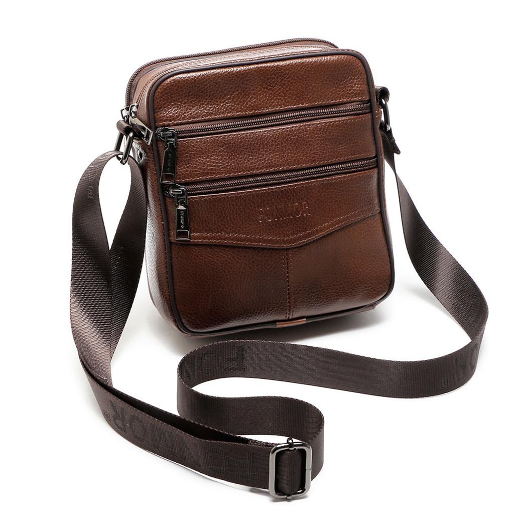 Retro New Men Genius Leather Cowhide Shoulder Crossbody Messenger Business Bag Small Satchel Dark Brown