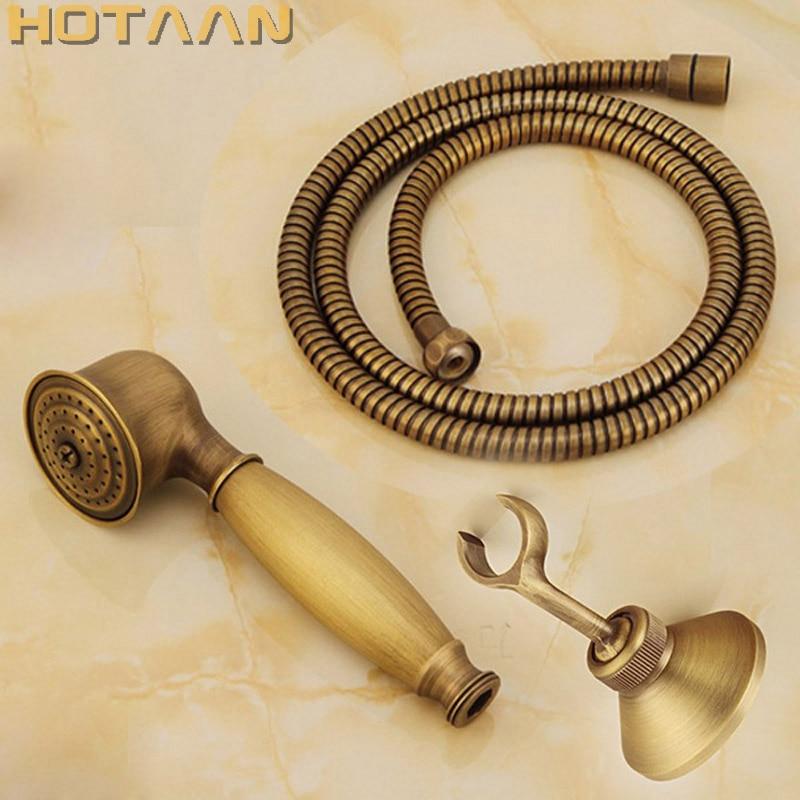 Antique Brass Hand Shower Sets Solid Brass Hand Shower +1.5M Shower Hose Pipe