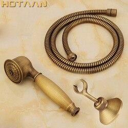 Chuveiro de mão de bronze antigo conjuntos de chuveiro de mão de latão sólido + 1.5 m tubo de mangueira de chuveiro