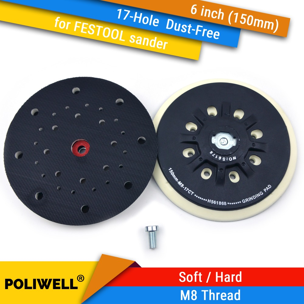 6 Inch(150mm) 17-Hole Dust-free M8 Thread Back-up Sanding Pad For 6