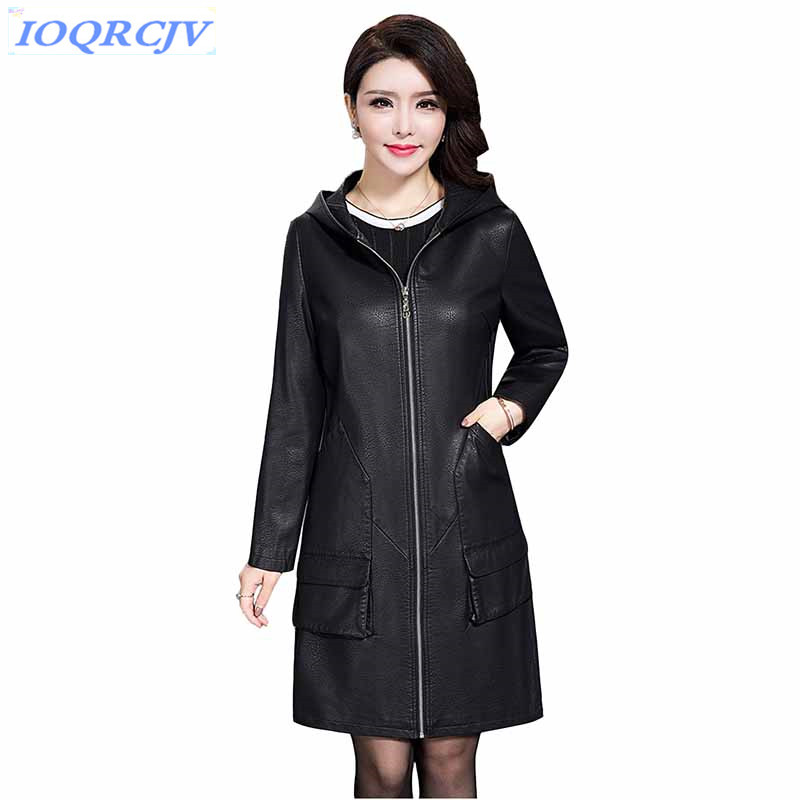 Women's   leather   jackets 2018 spring and autumn Plus size XL-6XL Hooded tops sheepskin coat Loose female Windbreaker IOQRCJV N078