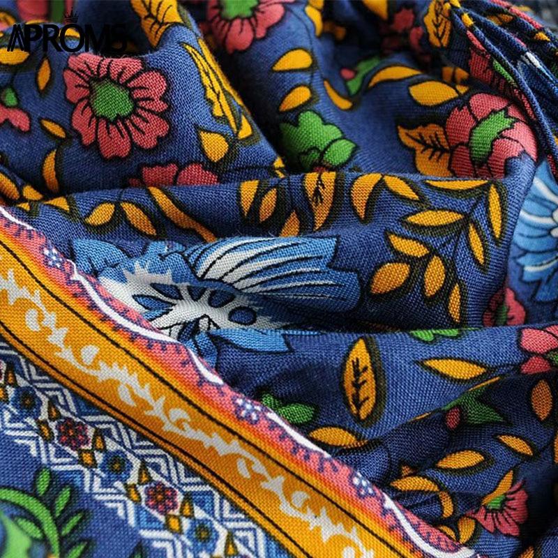 79972763c239c US $11.99 40% OFF|Aliexpress.com : Buy Aproms Navy Floral Print Women 2  Piece Dress Elegant Boho Off Shoulder Sweet Ruffle Short Dresses Female  Summer ...