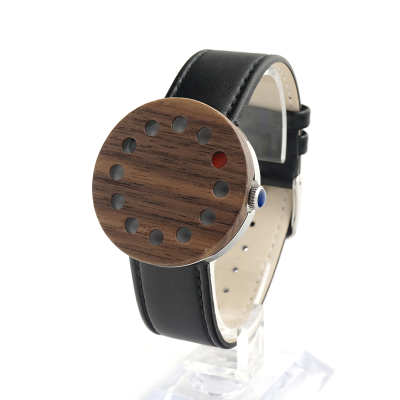 ФОТО BOBO BIRD C12 Wooden Watch Women's Ebony 12 Holes Quartz Design Leather Strap Men Women Luxury Dial for Unisex in Gift Box