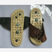 Health Care Wooden Base Acupunture Foot Massage Slippers Natural Stone Acupoint Massage Slippers Free Shipping