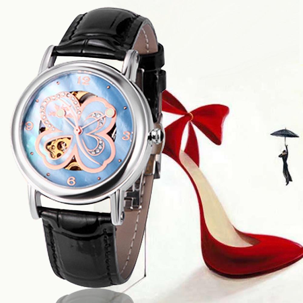 Women Business Fashion Leather Band Skeleton Mechanical Watch Relogio feminino Feida женское платье 2015 vestidos s xxl feida feida dress0789