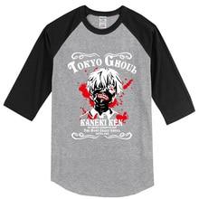 Hot 2017 summer T-shirt three quarter sleeve Anime Tokyo Ghoul fashion men's T-shirts hip hop brand clothing top raglan t shirt