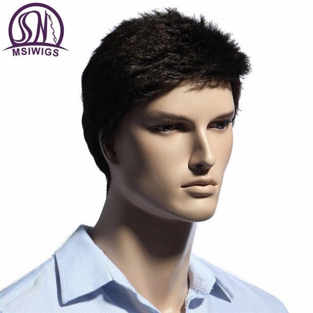 MSIWIGS Lisse Court Hommes Perruques Résistant À La Chaleur Japonais Fiber Brun Foncé Naturel Cheveux Mâle Perruque Synthétique Noir Couleur Hommes Toupet 1
