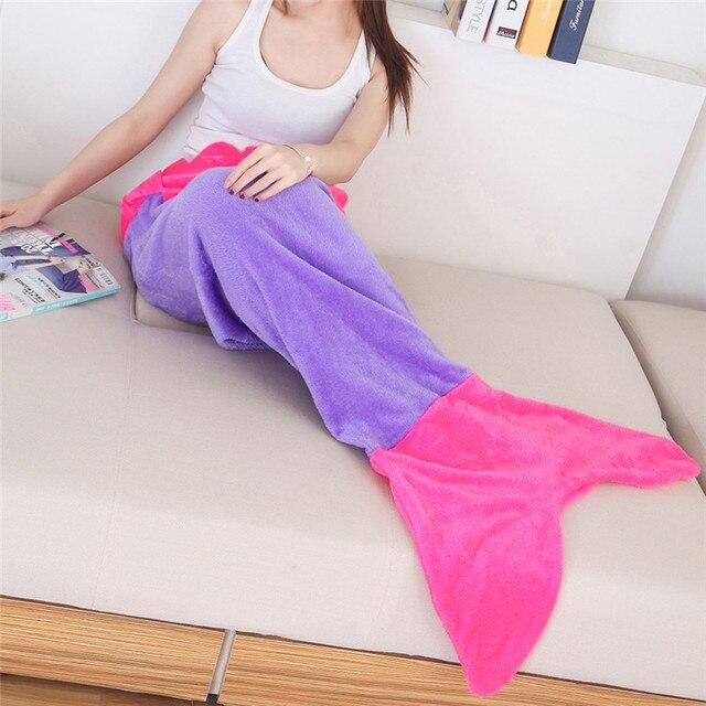 Edredón manta de sirena de lana para cama manta de cola de felpa a cuadros en sofá cama colchas mullidas manta de cama tejida para niños adultos