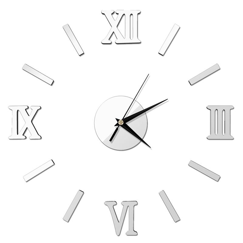 3D DIY Wall Clock Modern Frameless Large Mirror Surface Effect Wall Clock For Home Living Room Bedroom Decoration (Silver)