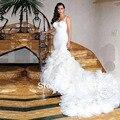 Vestido де Noiva милая русалка часовня поезд белый органзы ким кардашян свадебные платья Casamento свадебные платья 2014