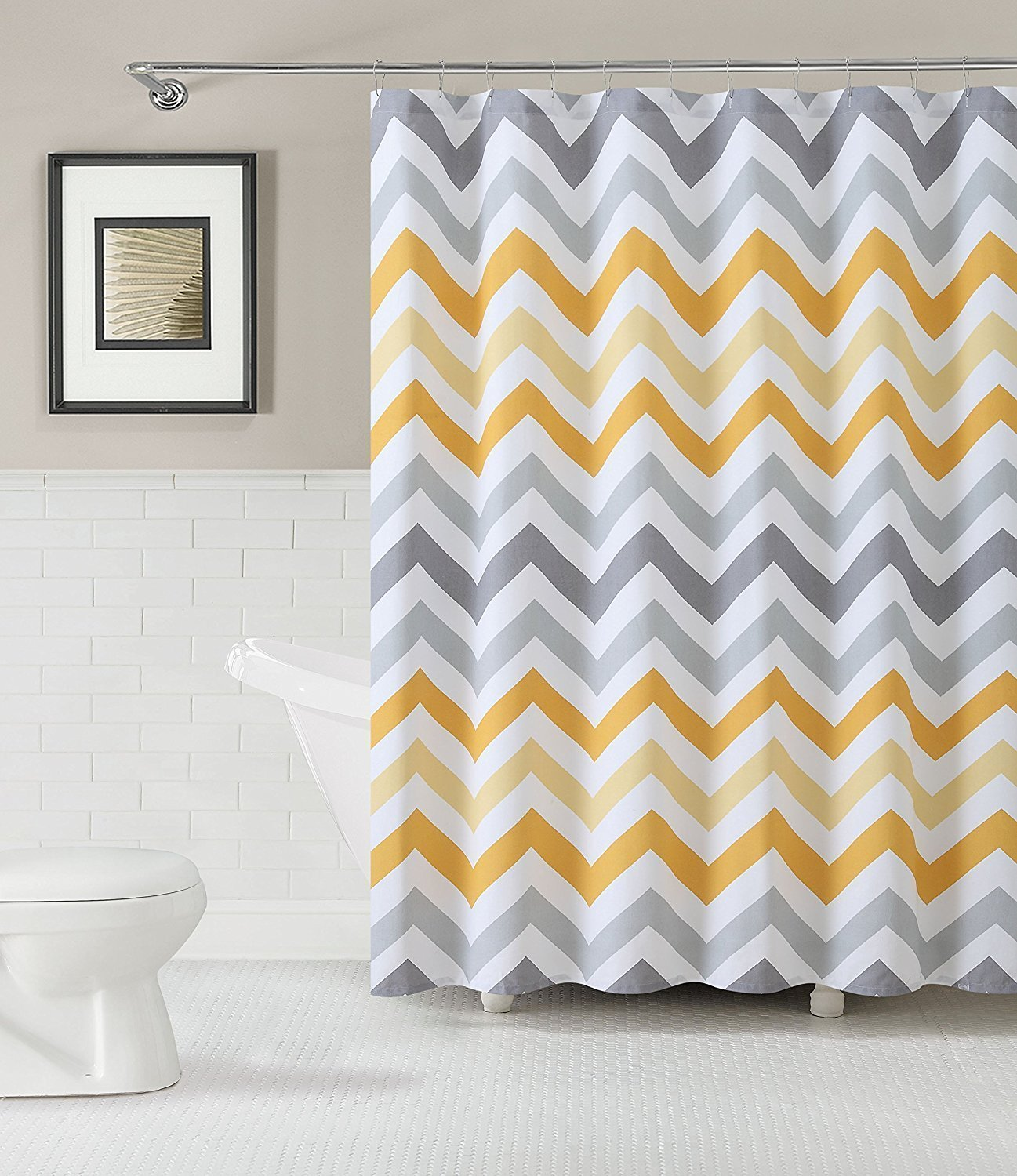 Us 16 01 40 Off Chevron Zigzag Pattern Bathroom Decoration Waterproof Polyester Fabric Shower Curtain Yellow Shower Curtains In Shower Curtains From