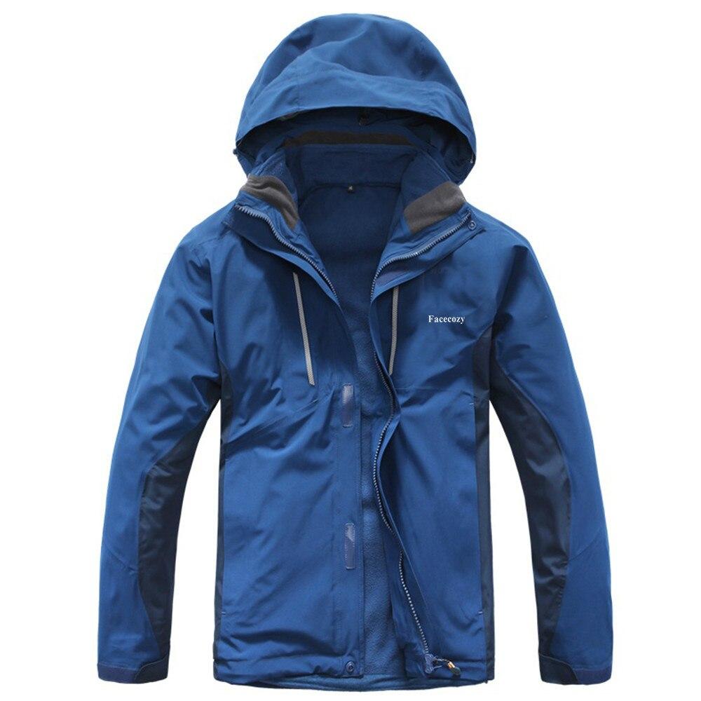 Для мужчин зимние Softshell Водонепроницаемый два комплекта флис Пеший Туризм куртки кемпинг Рыбалка Лыжный Термальность пальто открытый спор