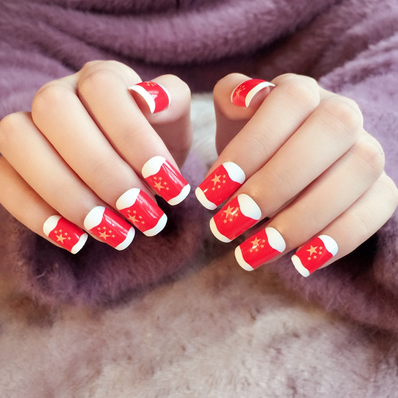 Stars Flag Fake Nails Chinese Red Flag White Lady Acrylic False Nail ...
