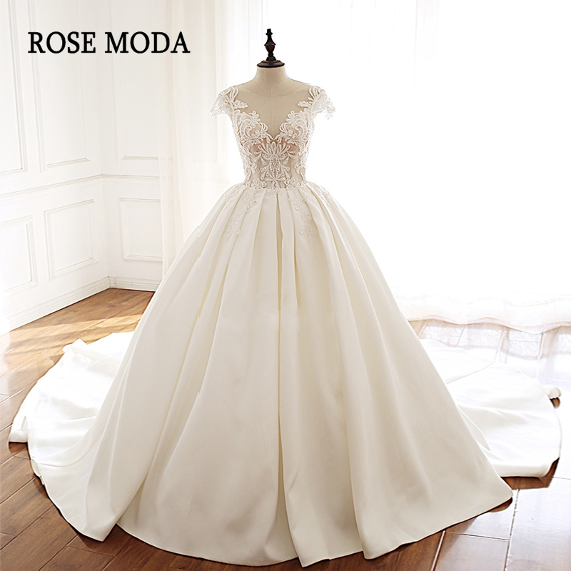 Rose Moda Luxury Princess Wedding Dresses 2019 Short Cap Sleeves Bridal Dress With Lace Semi Cathedral Train Real Photos