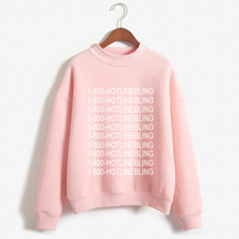 Women 1-800 HOTLINE BLING Drake PINK shirt Tops  long Sleeve  shirt Famous Rock Printed Cotton shirt