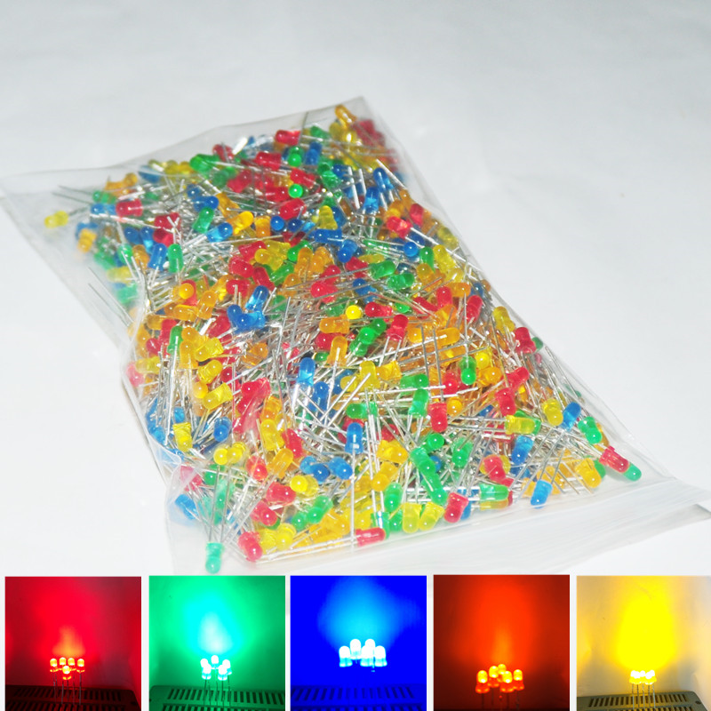 1000pcs 3mm LED Lamp Diode Mixed Light Emitting Diodes Diffused Lampada Carro 3 mm LEDs Alto Brilho RED Green Blue Yellow Orange