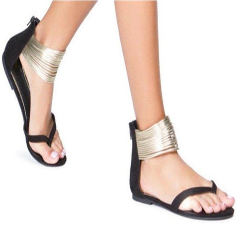 Женские летние сандалии на плоской подошве с ремешком на щиколотке и молнией, женские сандалии-гладиаторы для вечеринок, большие размеры ...