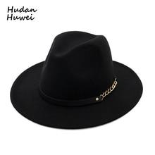 89d45167c20 Autumn Winter Wool Felt Fedora Hats with Belt Wide flat Brim Jazz Trilby  Formal Top Hat