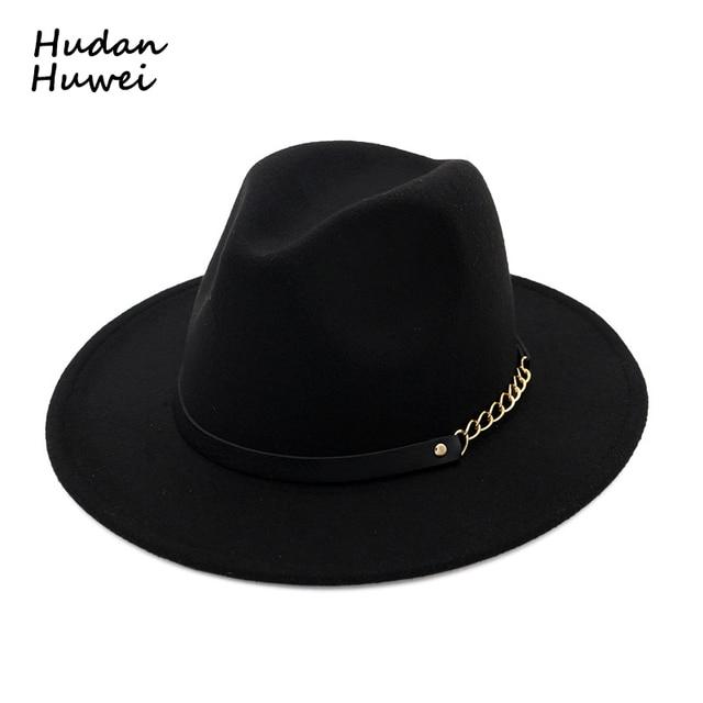 934131738 US $8.39 30% OFF|Autumn Winter Wool Felt Fedora Hats with Belt Wide flat  Brim Jazz Trilby Formal Top Hat Panama cap for unisex men women-in Fedoras  ...
