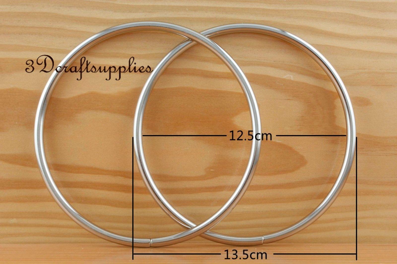 metal purse handle O rings Circle ring iron sliver 5 inch a pair C61 circle