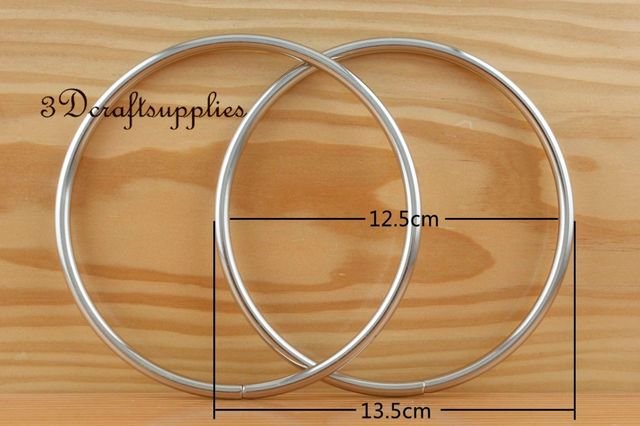 metal purse handle O rings Circle ring iron sliver 5 inch a pair C61 ...