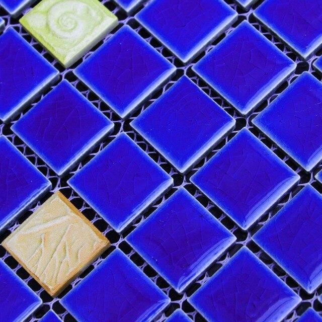 Bleu En Céramique Méditerranée Orientale Jaune Gaufrage Porcelaine Mosaïque  Pour Salle De Bains Mosaïque Cuisine Dosseret