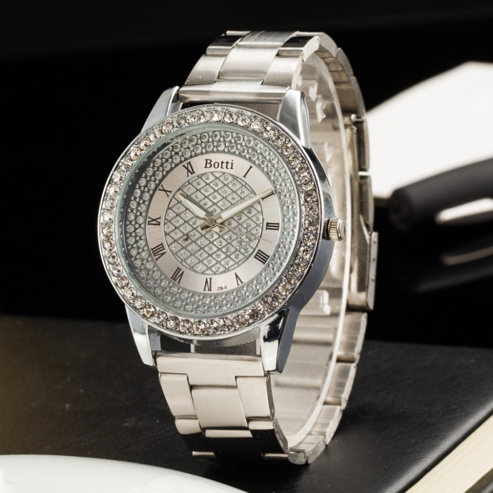 2019 New Brand Gold Grid Crystal Casual Quartz Watch Women Stainless Steel Dress Watches Relogio Feminino Silver Clock Hot Sale