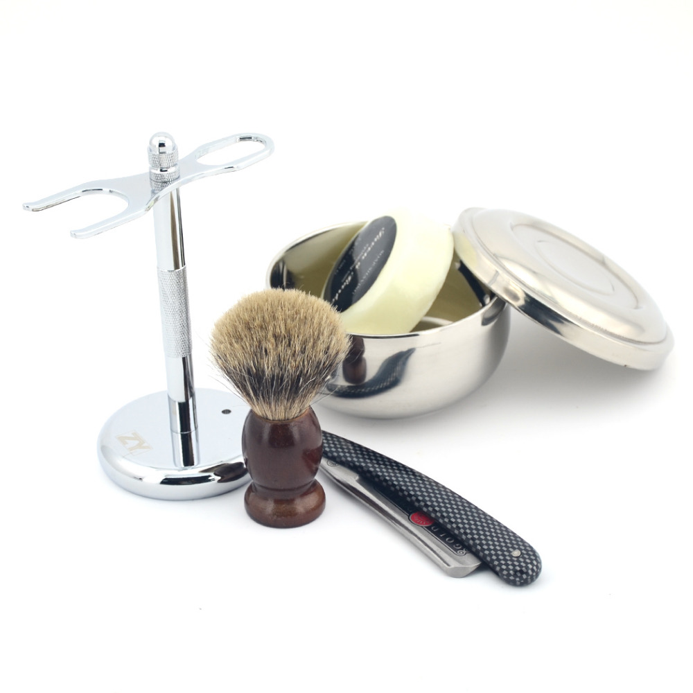 Men Knife Beard Kit Straight Razor Set Shave Ready Carbon Steel Razor Stand Shaving Bowl Badger Hair Shaving Brush Soap 5PCS/set mens badger shaving brush stand razor holder and double head safety straight razor