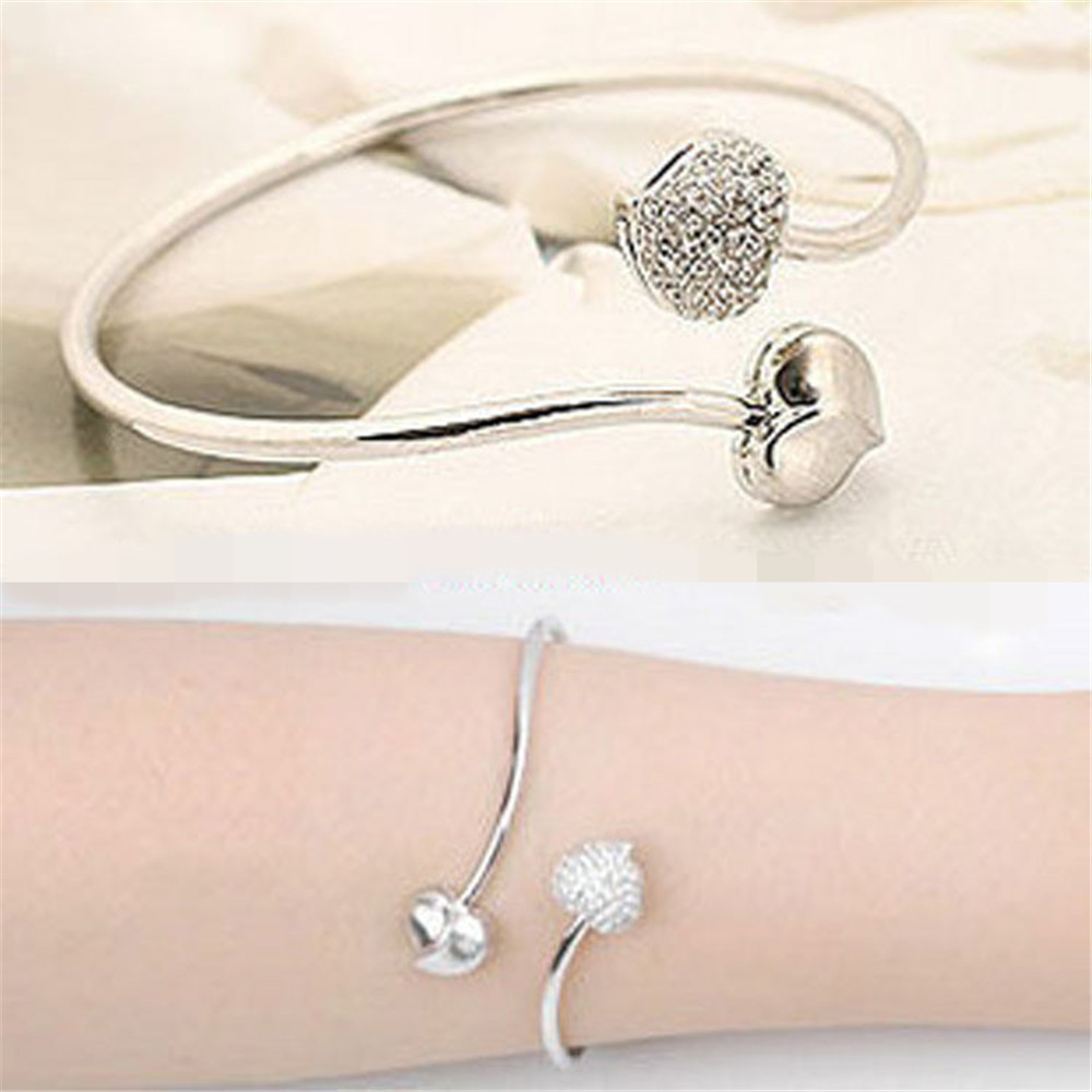 New Brand Charming Peach Heart Bracelets Bangles For Women Girl Bangle Gold Silver Color Crystal Bracelet Statement Jewelry A232