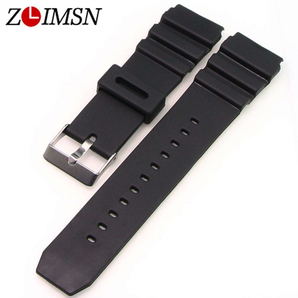 ZLIMSN Black Watchbands Soft Silicone Rubber Strap Watch Military Sweatband 18mm 20mm 22mm Stainless Steel Buckle