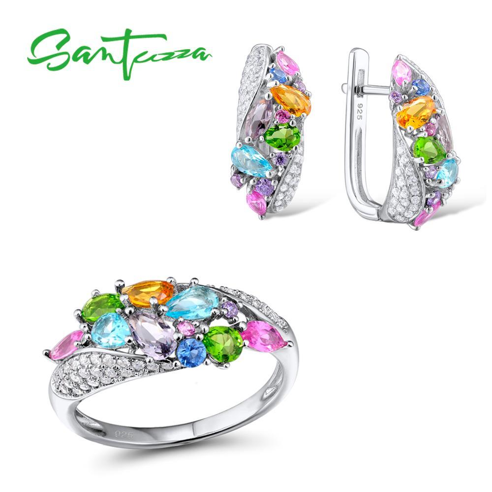 Conjuntos de joyas de plata para mujeres Mutil Color piedras blanco CZ pendientes anillo conjunto 925 plata esterlina fiesta joyería de moda conjunto-in Conjuntos de joyería from Joyería y accesorios    1