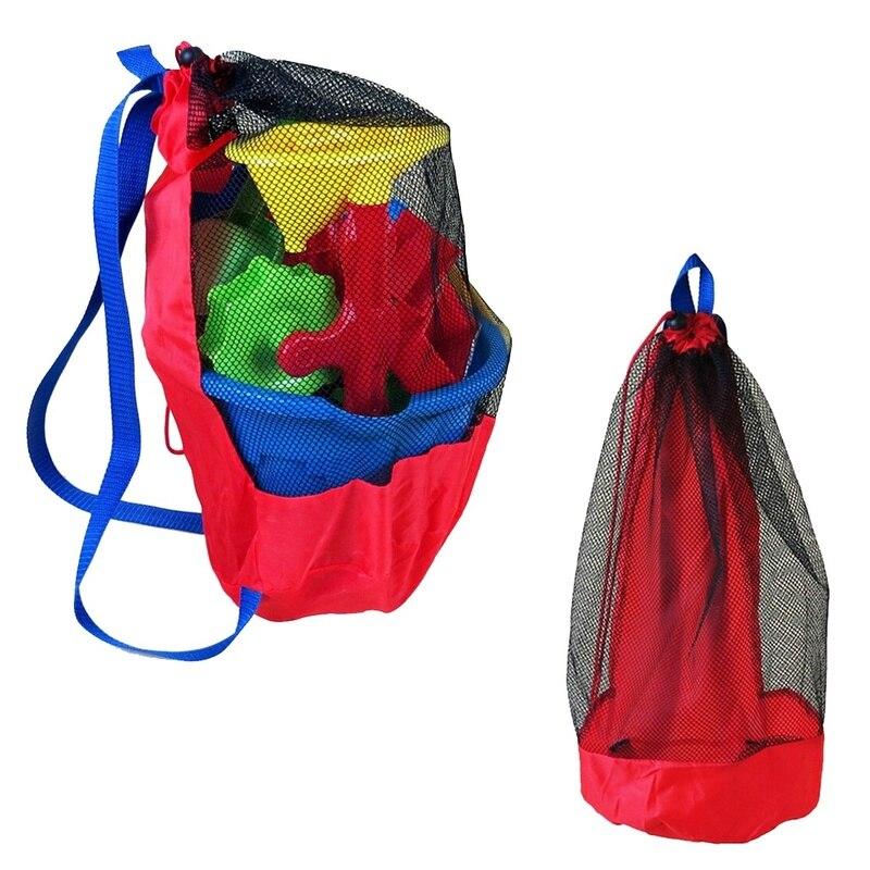 Large Mesh Beach Storage Organizer Tote Durable Folding Sand Away Drawstring Beach Backpack Swim Pool Toys Storage Bags Qb892607 Storage Bags